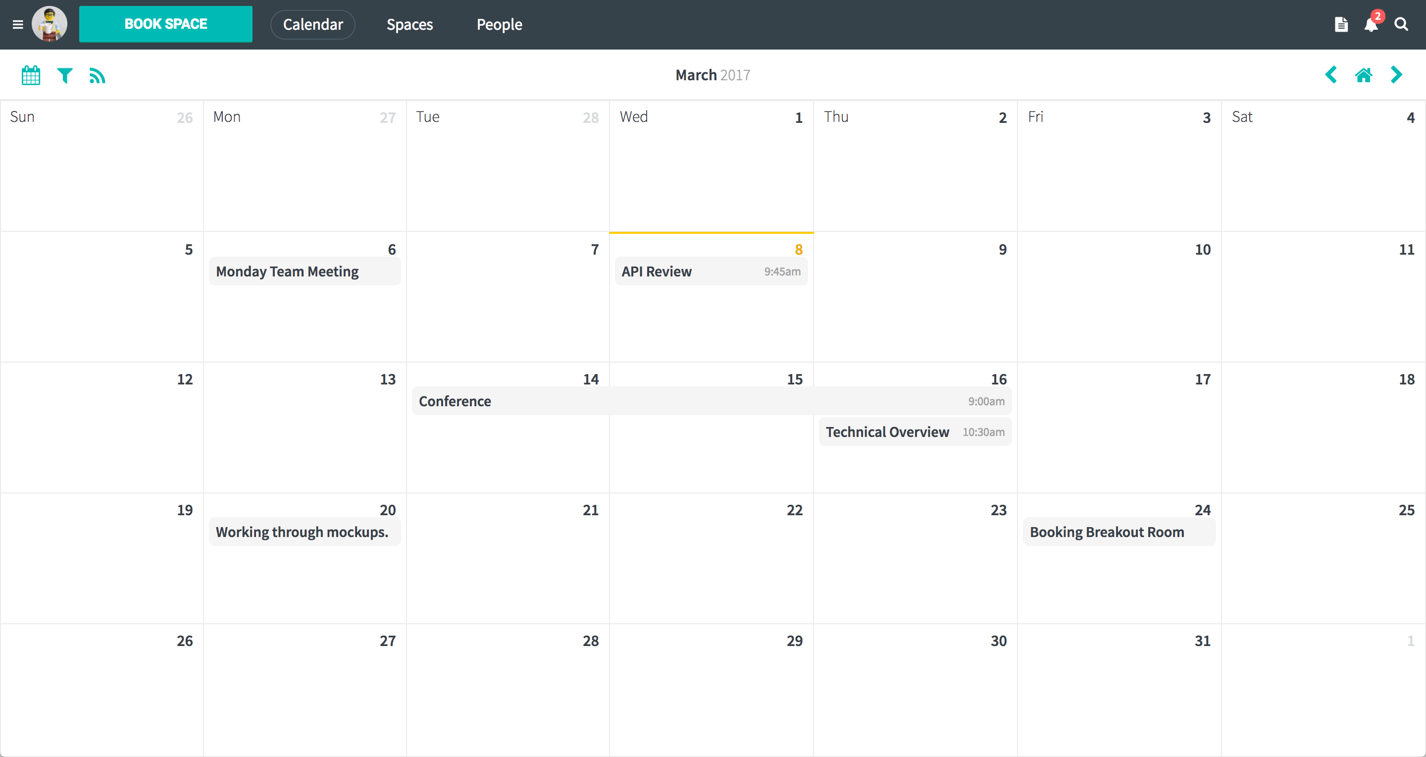 Screenshot of the Maineve calendar dashboard.